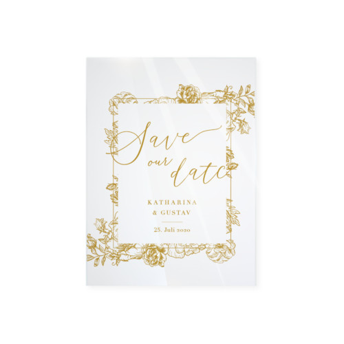 Wow! Karten | Shop | Save the Date – Golden Flower Acryl